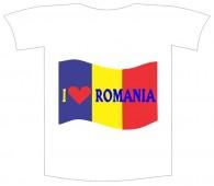 "Tricou imprimat ""I love Romania"""